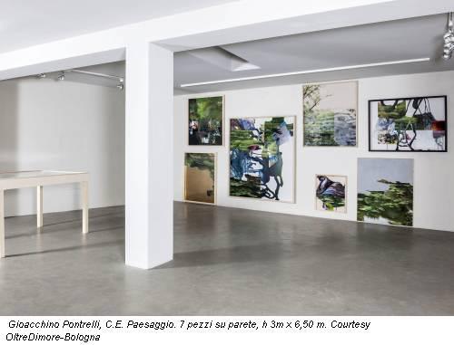 Gioacchino Pontrelli, C.E. Paesaggio. 7 pezzi su parete, h 3m x 6,50 m. Courtesy OltreDimore-Bologna