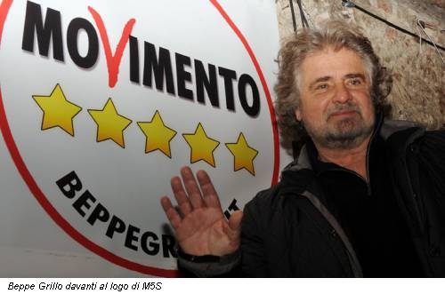 Beppe Grillo davanti al logo di M5S