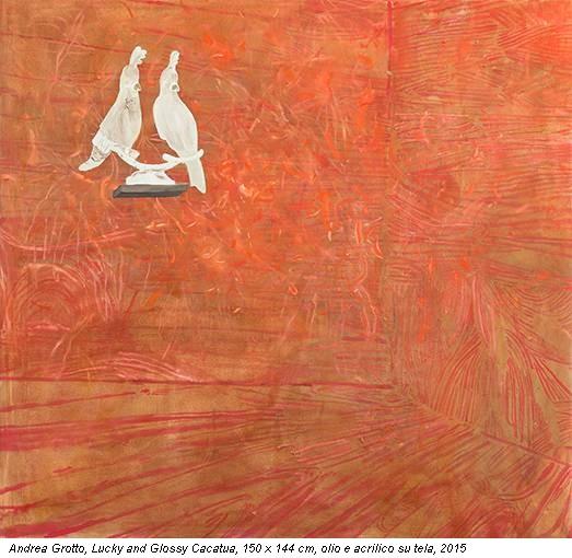 Andrea Grotto, Lucky and Glossy Cacatua, 150 x 144 cm, olio e acrilico su tela, 2015